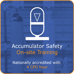 Gas charged accumulator safety