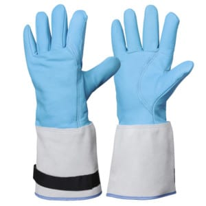 Cryogenic glove blue leather mid arm